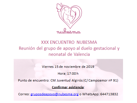 Reunión del grupo de apoyo al duelo gestacional y neonatal de Valencia